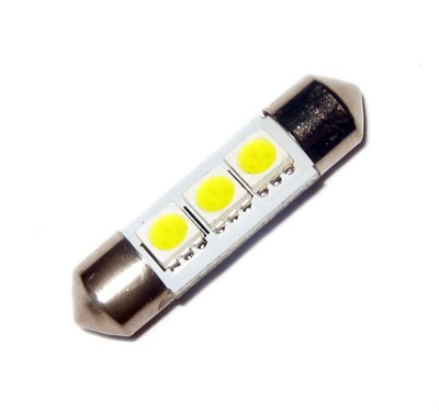 Ampoule C5W 36 mm 3 leds 5050 blanches 24 volts