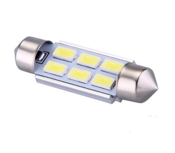 Ampoule navette c5w c7w c10w de 39 mm 6 leds blanches 5630 24 volts