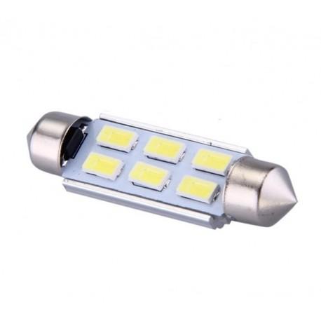 Ampoule navette c5w c7w c10w de 41 mm 6 leds blanches 5630 24 volts