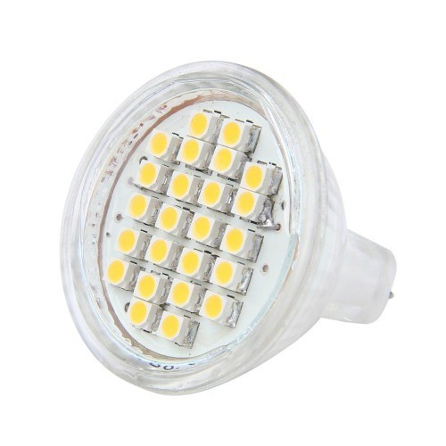 Ampoule led MR11 culot GU4 24 leds blanc chaud