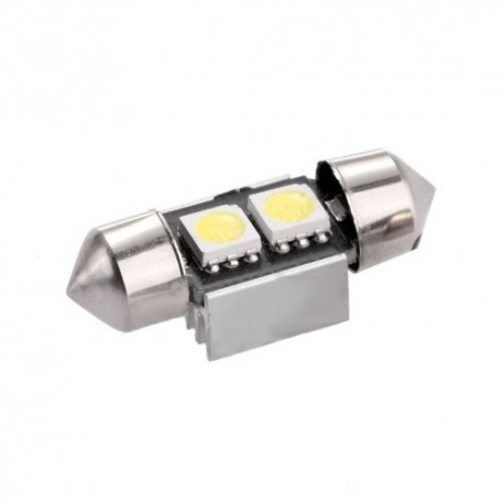 Ampoule C5W 31 mm 2 leds 5050 blanches 6 volts
