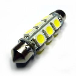 Ampoule navette 6 volts c5w de 42 mm 12 leds blanches 360°