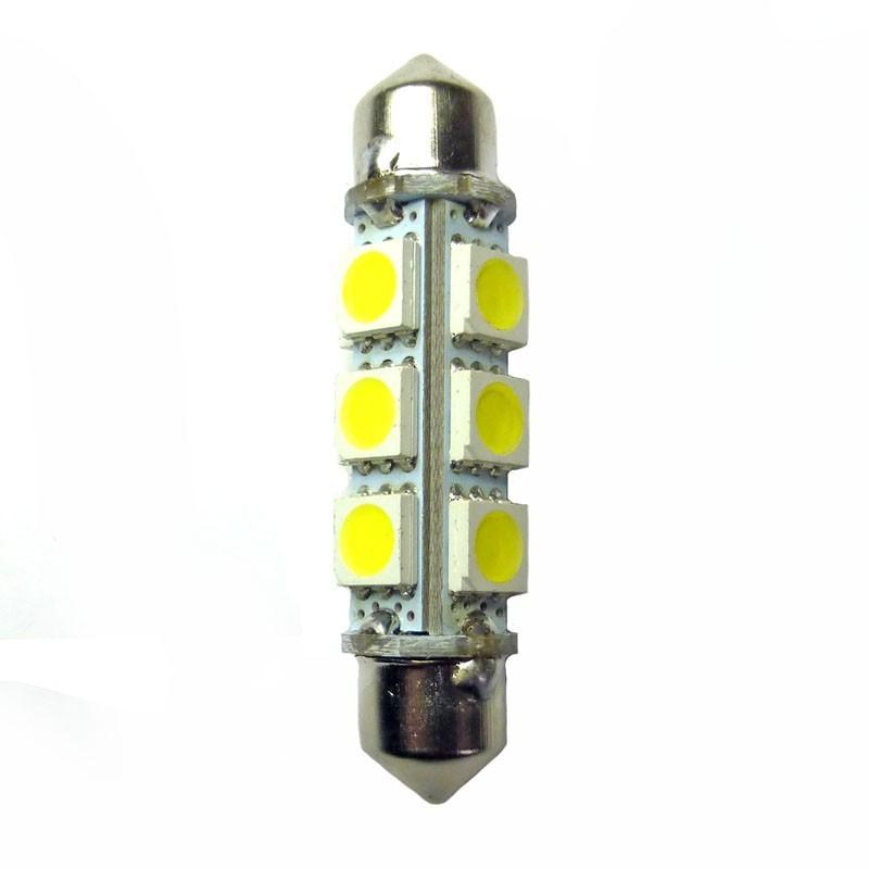 ampoule navette 6 volts c5w de 42 mm 12 leds blanches 360. Black Bedroom Furniture Sets. Home Design Ideas