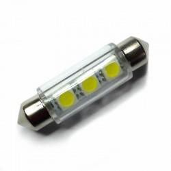 Ampoule navette c5w c10w de 42 mm 3 leds blanches 6 volts