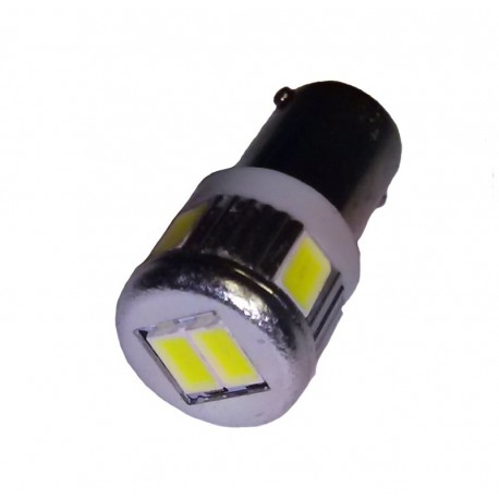 Ampoule H6W BAX9S 6 leds blanches 5630 9 à 30 volts