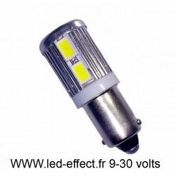 Ampoule H6W BAX9S 10 leds blanches 5630 9 à 30 volts