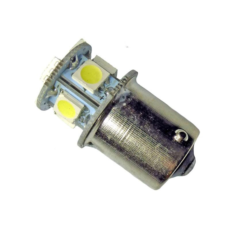 Ampoule R5W, R10W BA15S à 8 Leds blanches 24 volts sans polarité