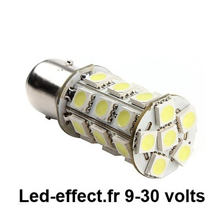 Ampoule P21/5W BAY15D 27 Leds blanches 9-30 volts