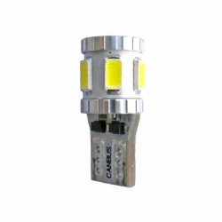 Ampoule Led T10 W5W 8 leds blanches 5630 canbus anti-erreur