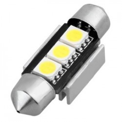 Ampoule navette C5W 36 mm 3 leds 5050 blanches