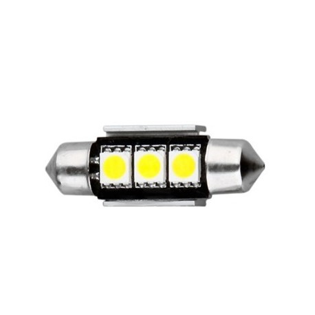 Ampoule navette C5W 36 mm 3 leds 5050 blanches 24 volts