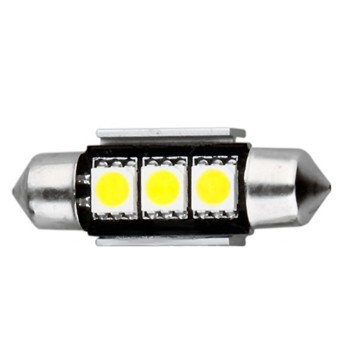 ampoule navette c5w 36 mm 3 leds 5050 blanches 24 volts led effect. Black Bedroom Furniture Sets. Home Design Ideas