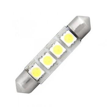Ampoule navette c5w de 42 mm 4 leds blanches