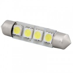 Ampoule navette c5w de 42 mm 4 leds blanches 24 volts