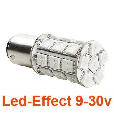 Ampoule P21W-BA15S 27 Leds Rouges 9-30 Volts