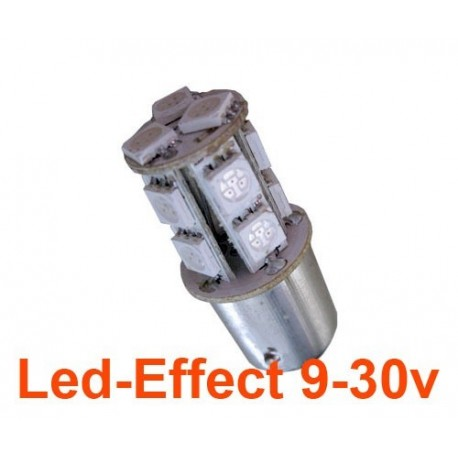 Ampoule R10W-P21W-BA15S 13 Leds Rouges 9-30 Volts