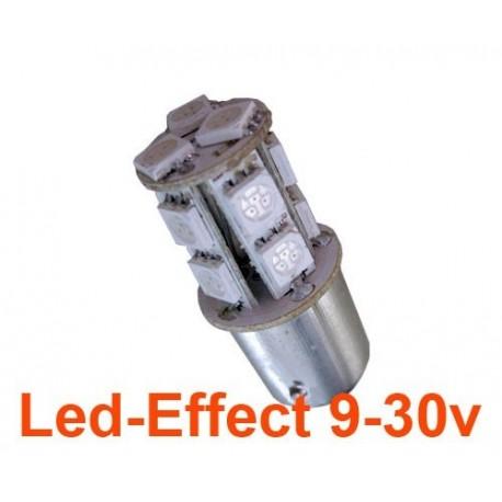 Ampoule R10W-P21W-BA15S 13 Leds Rouges 9-30 Volts