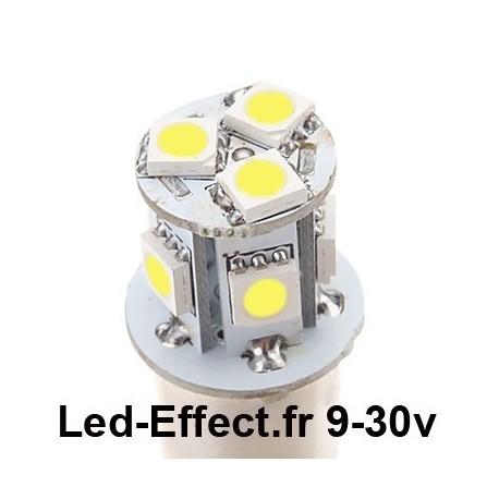 Ampoule R5W-R10W-BA15S 8 Leds blanches 9-30 Volts