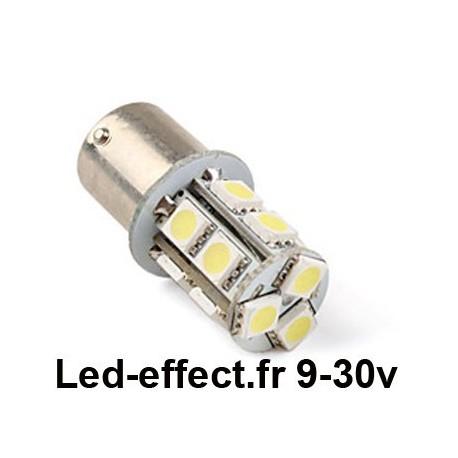 Ampoule R10W-P21W-BA15S 13 Leds blanches 9-30 Volts