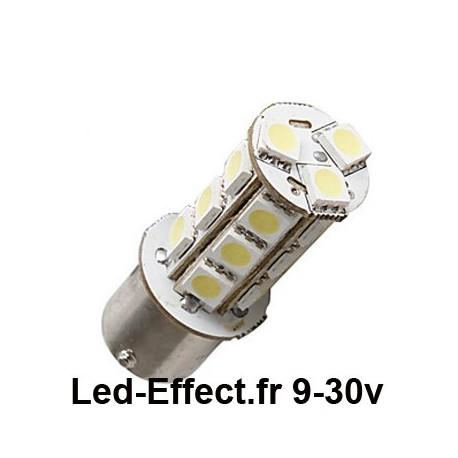 Ampoule P21W-BA15S 18 Leds blanches 9-30 Volts