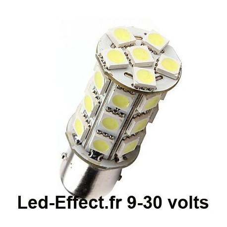 Ampoule P21W-BA15S 27 Leds blanches 9-30 Volts