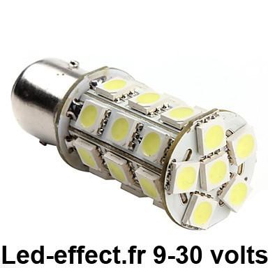 Ampoule P21/5W BAY15D 24 Leds blanches 9-30 volts