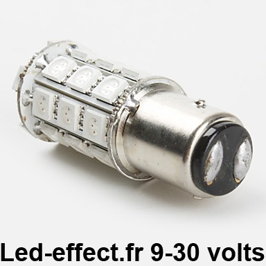 Ampoule P21/5W BAY15D 27 Leds Rouges 9-30 volts