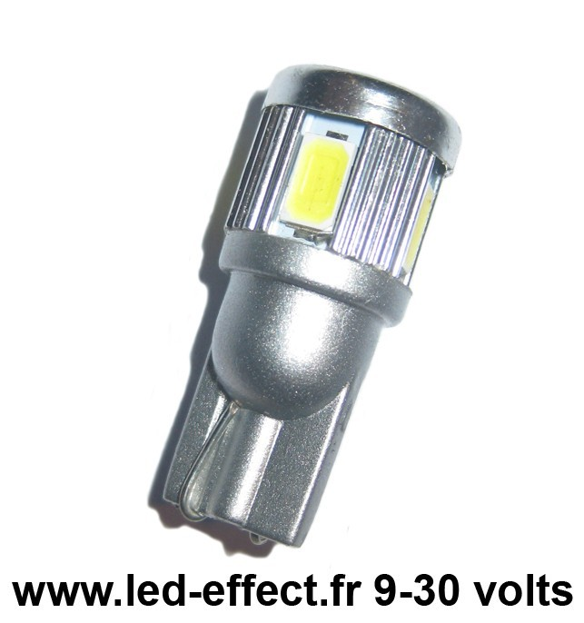 Ampoule Wedge T10 W5W W16W 6 leds blanches 5630 9 à 30 volts