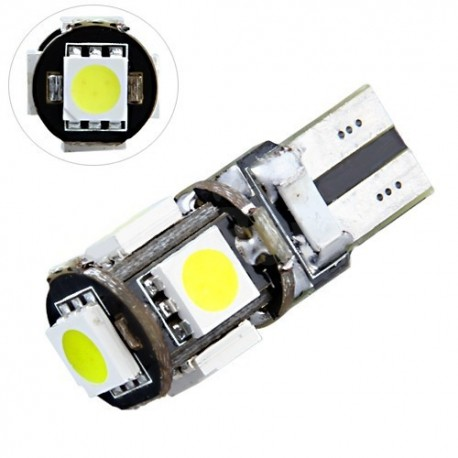 Ampoule Led T10 W5W 5 leds blanches canbus anti-erreur