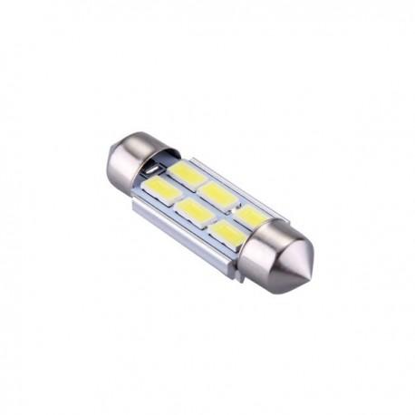 Ampoule navette c5w c7w c10w de 36 mm 6 leds blanches 5630