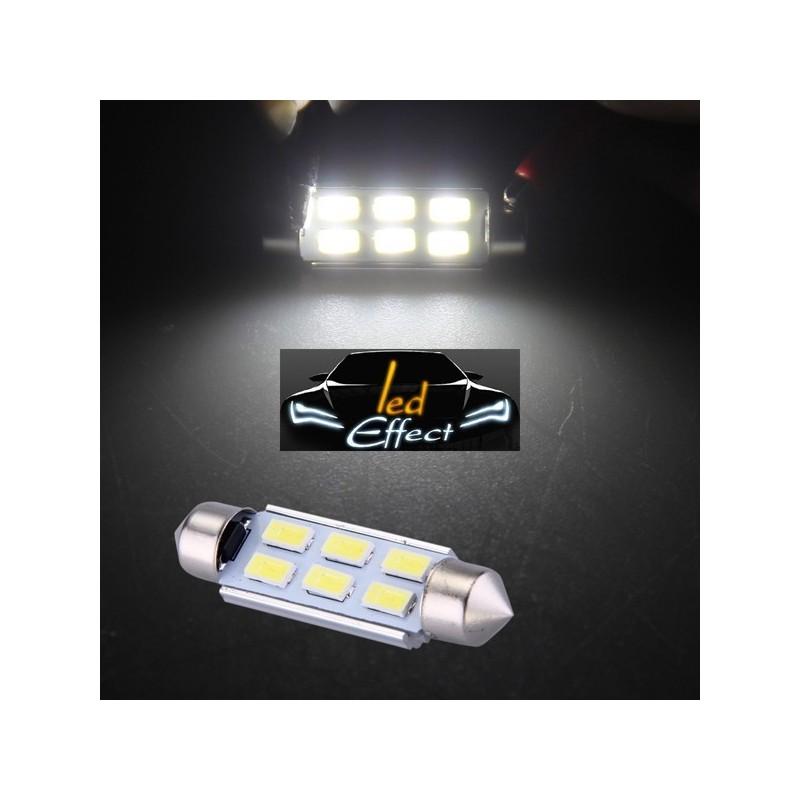 ampoule navette c5w c7w c10w de 41 mm 6 leds blanches 5630 led effect. Black Bedroom Furniture Sets. Home Design Ideas
