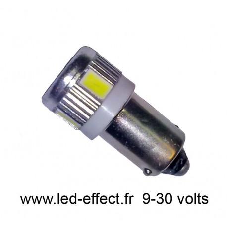 Ampoule T4W BA9S 6 leds blanches 5630 9 à 30 volts
