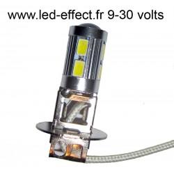 Ampoule H3 10 leds 5630 blanches 9 à 30 volts