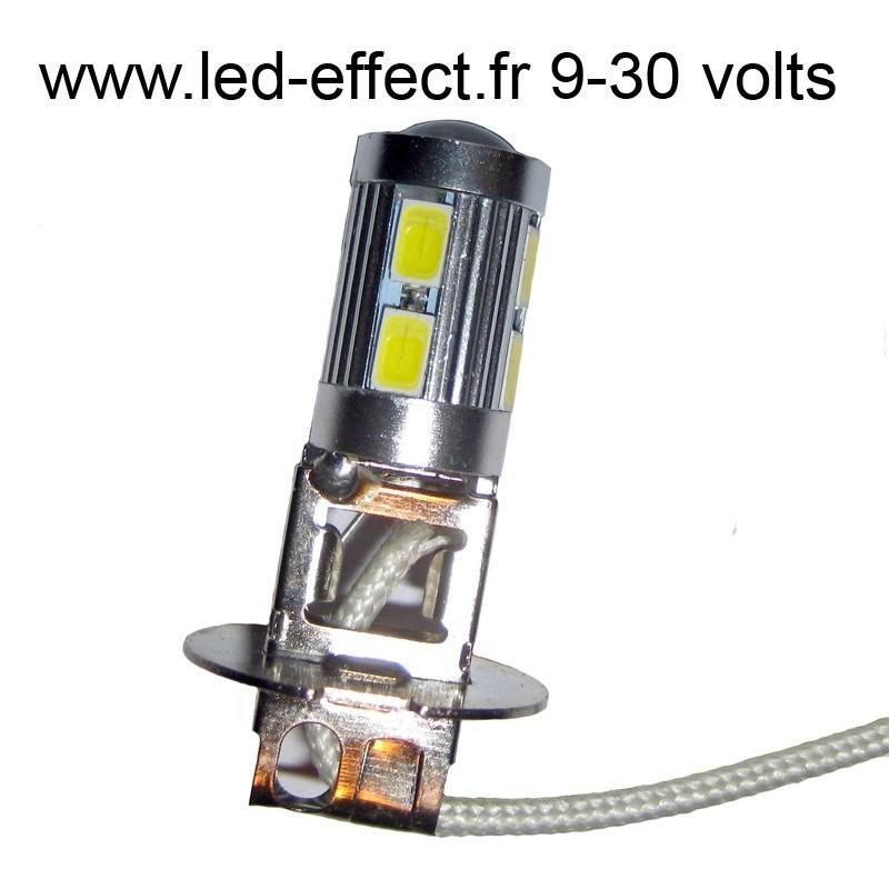 ampoule h3 10 leds 5630 blanches 9 30 volts led effect. Black Bedroom Furniture Sets. Home Design Ideas