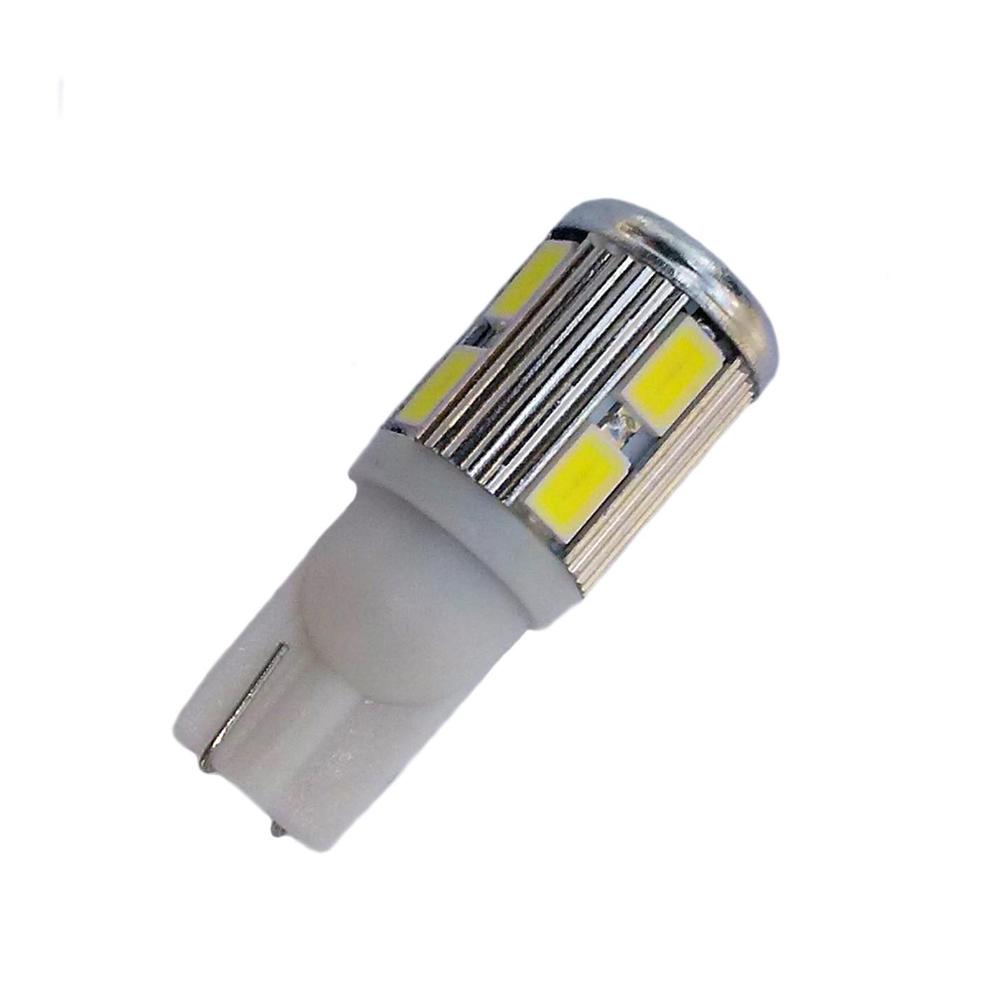 Ampoule Wedge T10 C5w C10W C15W à 10 leds blanches 5630