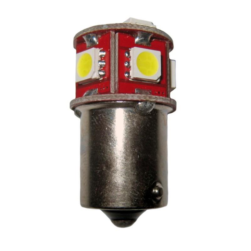 Ampoule R5W R10W BA15S 8 leds blanches 6 volts