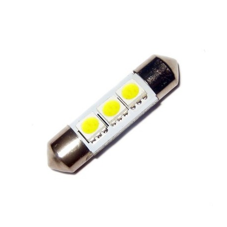 Ampoule C5W 36 mm 3 leds 5050 blanches 6 volts